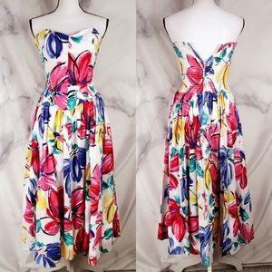 VTG 80s Floral Strapless Midi Dress